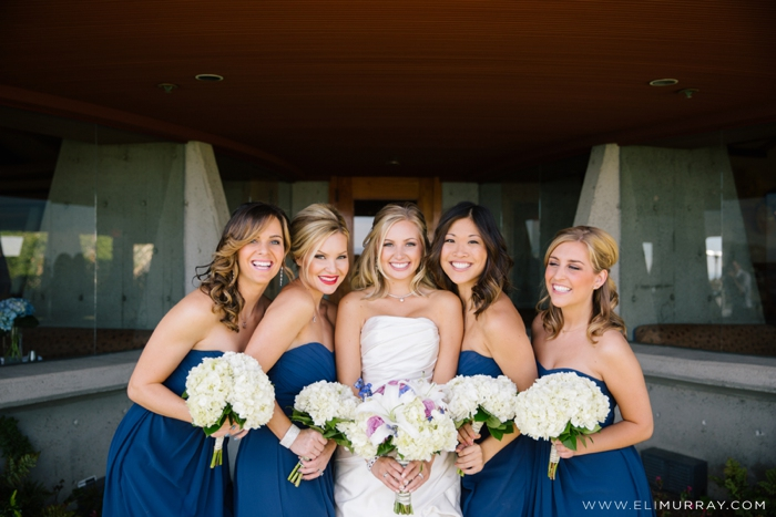 bride and bridesmaids at chart house