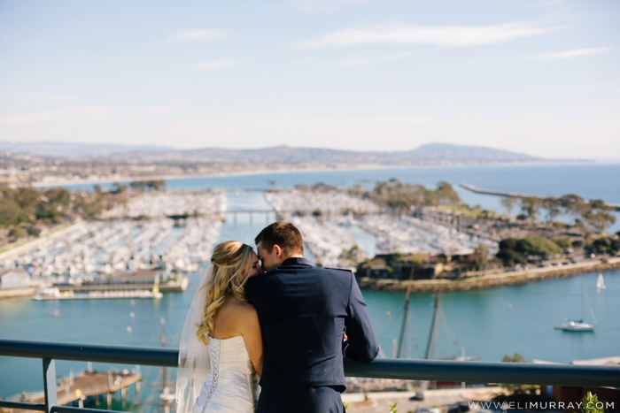 bride and groom and dana point harbor
