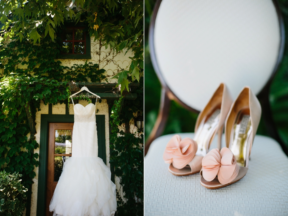 strapless wedding dress and soft pink heels