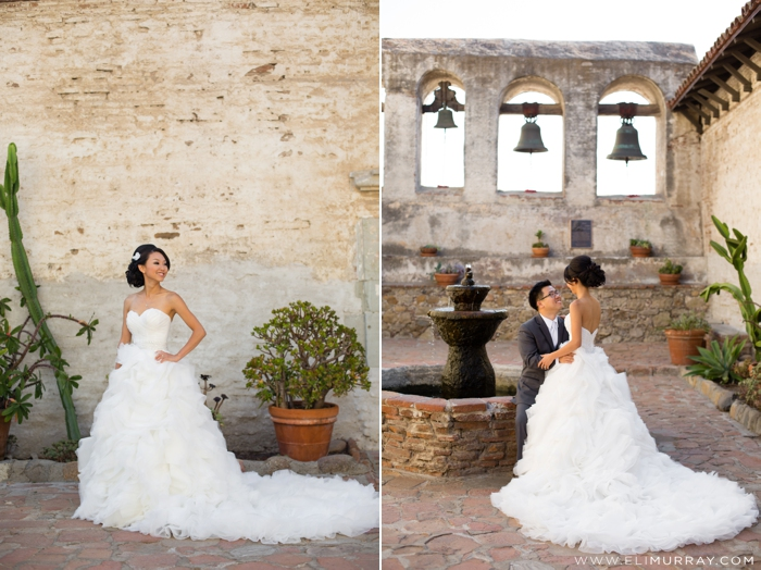 Bride and Groom at the Mission San Juan Capistrano