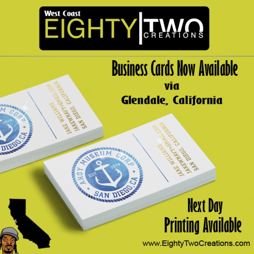 Custom business cards now available through our California printing partner located in Glendale, CA. Email us your art, due date, and zip code for detailed pricing info.