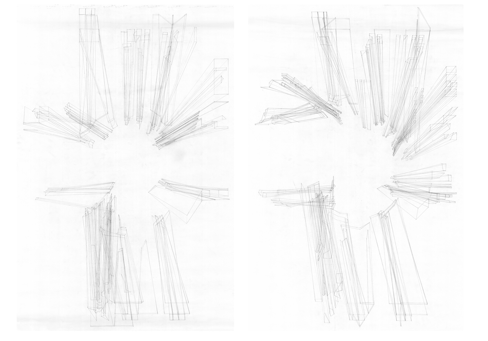 Right eye drawing, Left eye drawing Unfolded drawing of the installation Revealing the Human Anamorphosis
