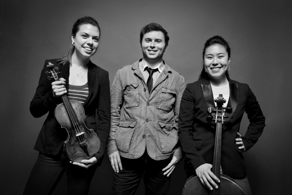 From Left to Right:   Tessa Lark , violin; Misha Namirovsky, piano;  Deborah Pae , cello