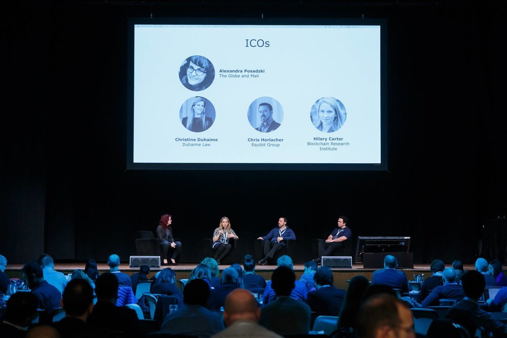 Moderating a panel about ICOs at the AI World Forum, 2017.