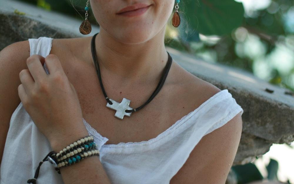 Dark Brown Cross Necklace