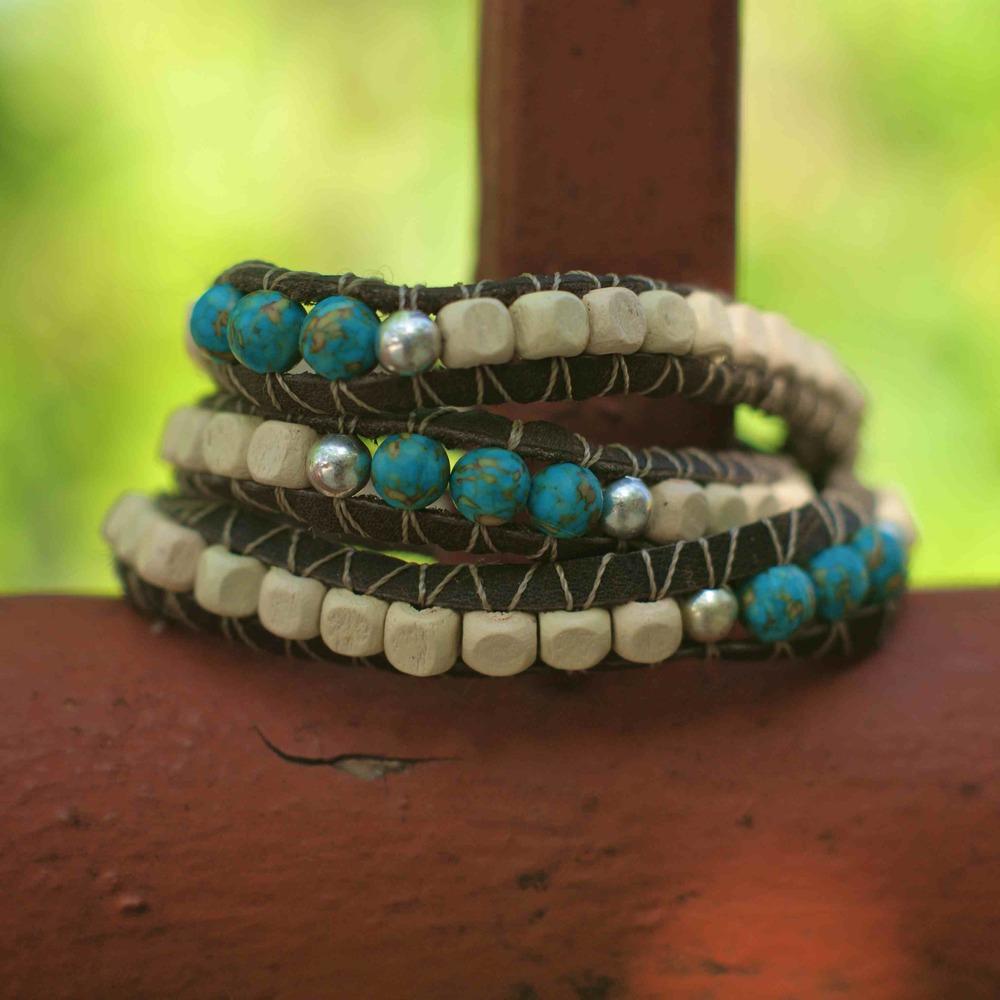 Ivory Turquoise Wrap Braclet