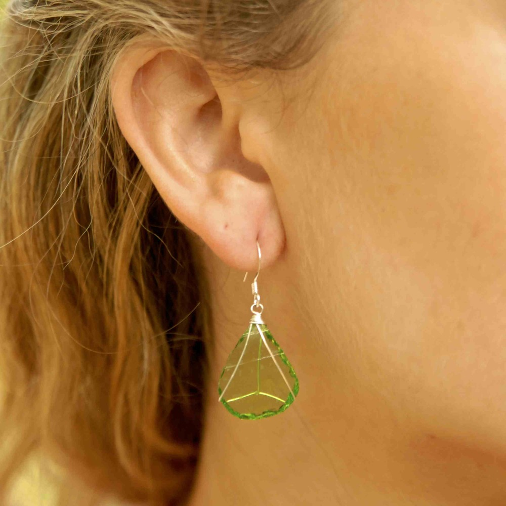 Single Tier Green Glass Earrings