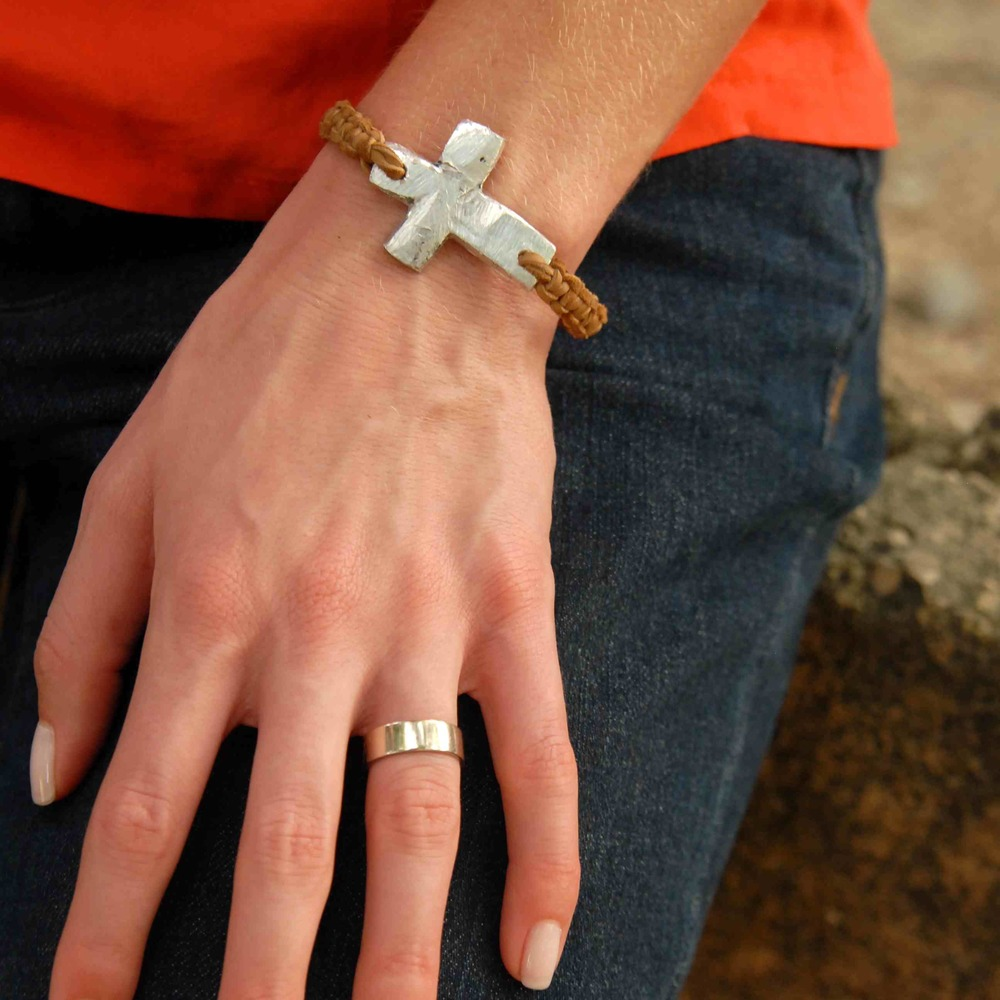 Tan Leather Cross Bracelet