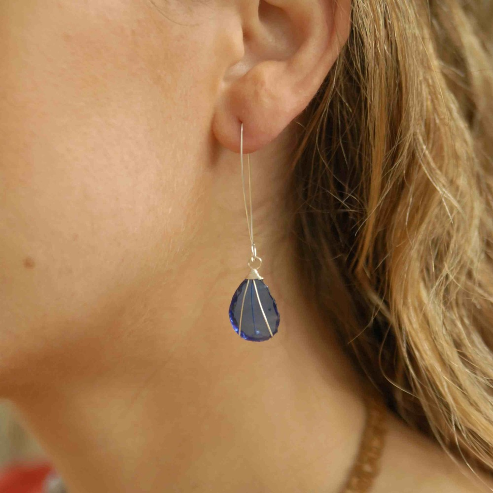 Silver Drop Blue Glass Earrings
