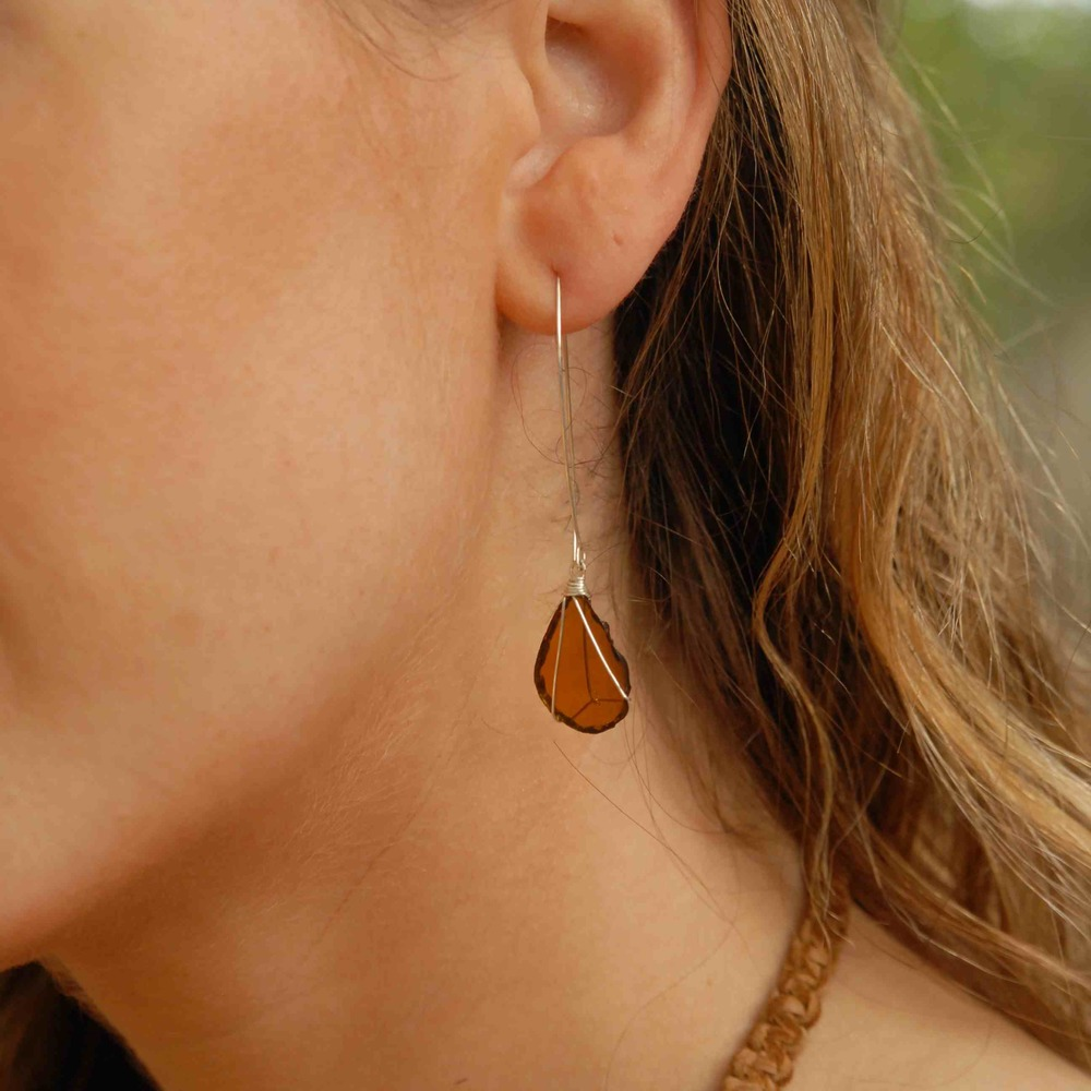 Silver Drop Brown Glass Earrings