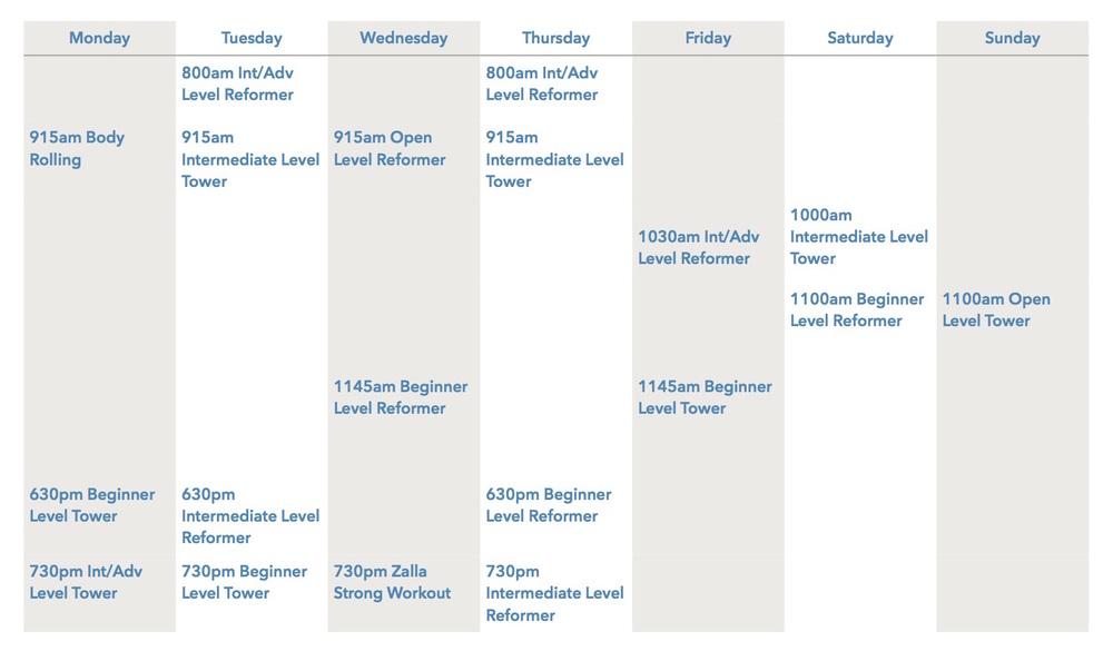 Zalla Schedule
