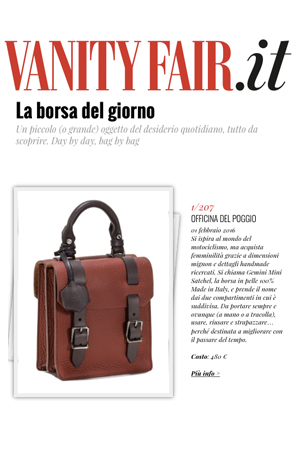 The ODP Mini Gemini Satchel selected as  VANITY FAIR  's Bag of the Day