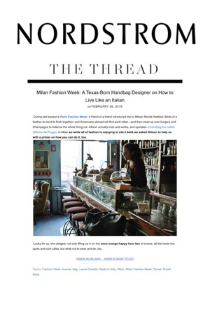 Allison featured as guest designer on  NORDSTROM' s  THE THREAD