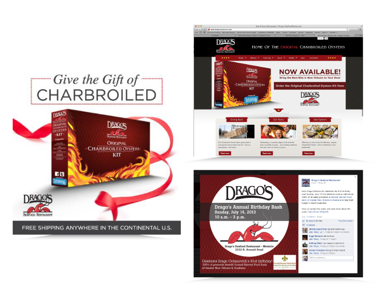 Social Media and Website imagery created for Drago's New Orleans
