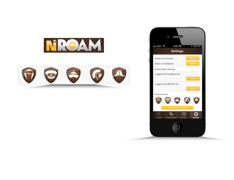 Icons developed for Mobile App, NRoam