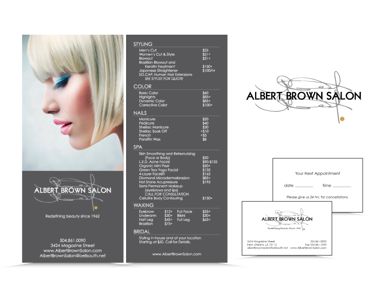 Service Menu created for Albert Brown Salon