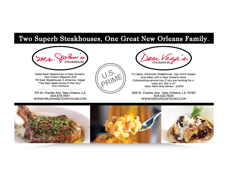 Gambit ad for Desi Vega's and Mr. John's Steakhouse, New Orleans