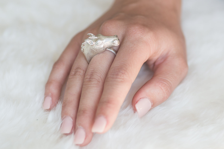 Sterling Silver Horse Head Ring — Karina Brez Jewelry