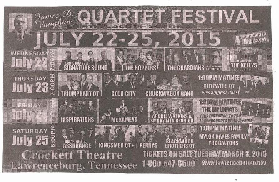 2015 Vaughn Festival Line-Up
