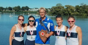 Gold medal Senior Womens Four with coach Michael Sasi