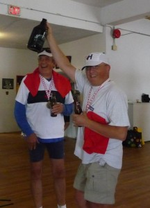 Hanlan's Hugh Fletcher and JC Marly enjoying a marathon well done.