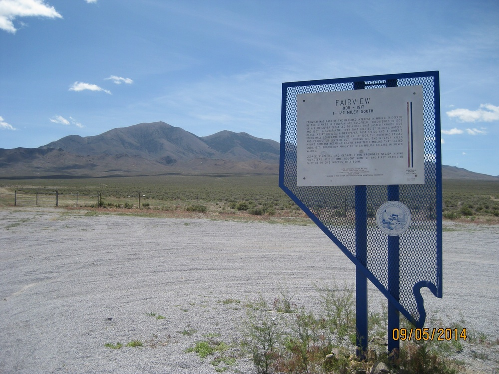 "One of those middle-of-the-desert shots.  This is one of many (hundreds?) of ""historic markers"" that are along the side of US Hwy 50."