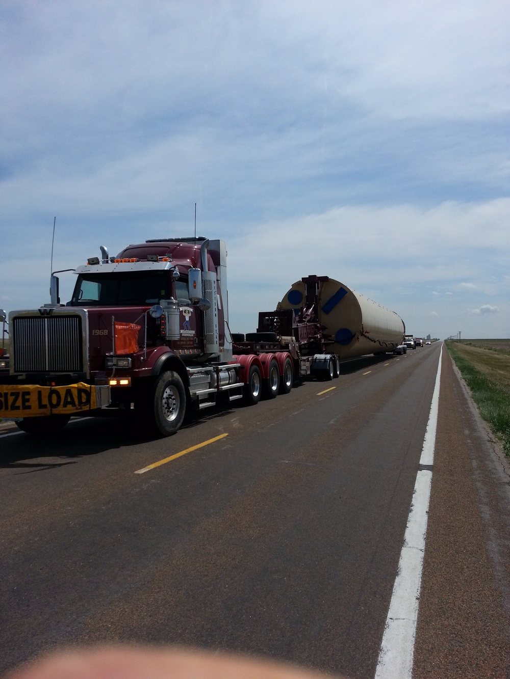 We passed many of these oversized loads going through Kansas.  I think they were building Megatron.