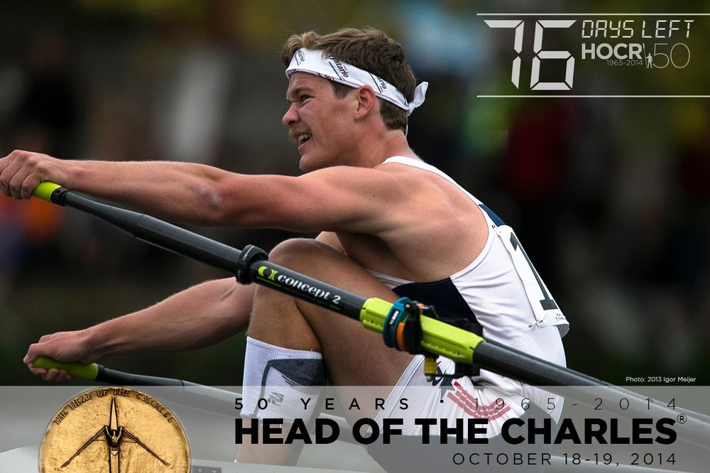Hanlan's Alex Soutter finished high in the Single's standings at the 2013 Head of the Charles regatta.  This year his great technique and grit are featured on the poster of this prestigious regatta.