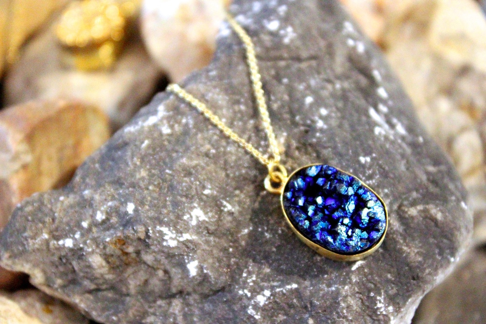 Blue Druzy Necklace from Luxe Apothetique    Photo Credit: Hannah Rose