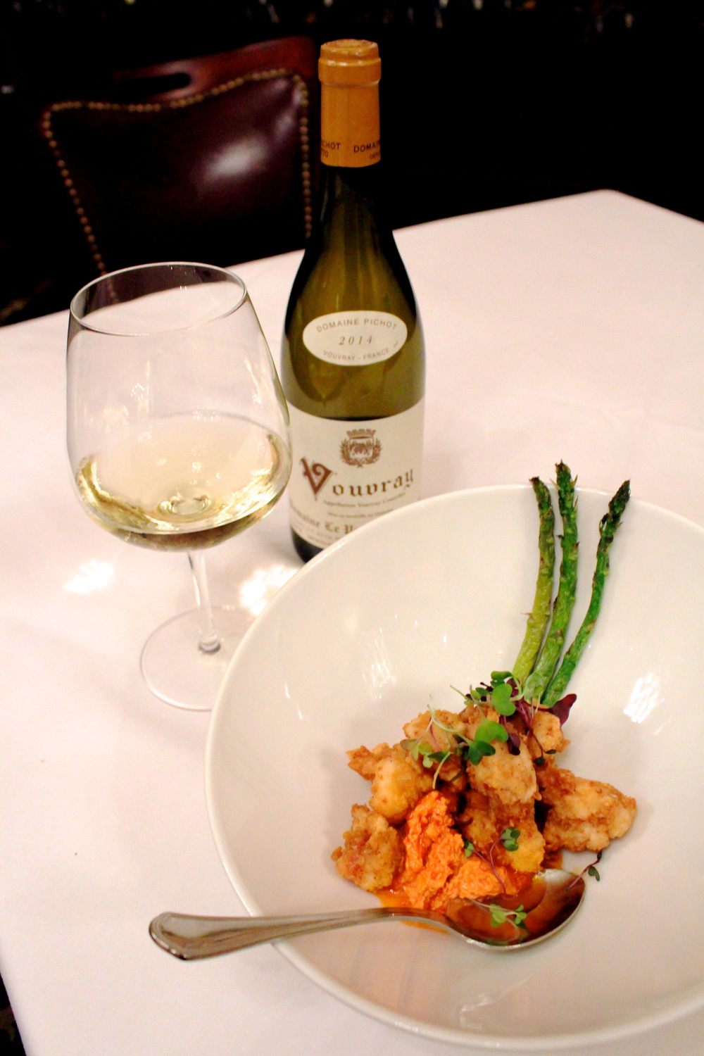 Chicken-fried lobster paired with a 2014 Vouvray at III Forks    Photo credit: Hannah Rose