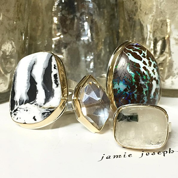 Timeless and modern, elegant and understated, Jamie Joseph Jewelry collection is a showcase of exquisite rocks. An artisan and a designer, Jamie hand-selects and hand-facets each stone. Her Golden Joinery collection, featuring stones joined with 22k gold and signature diamond, is based on the Japanese art of Kintsugi, which is the art of repairing broken pottery with gold. It is thought that this technique makes the item more beautiful, rather than be considered broken, as the cracks are part of history. Shop dozens of items from this collection and her other one-of-a-kind designs at Eliza Page Oct 20-23. Shop during the trunk show weekend and be entered to win a ring!