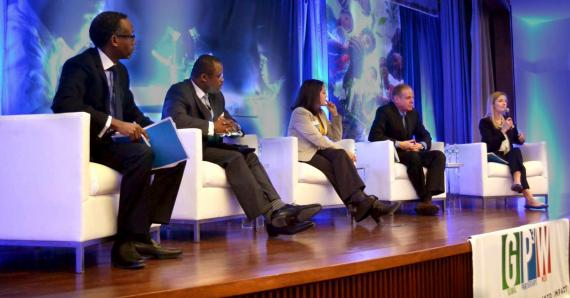 Deputy Special Representative Thomas Debass moderates a panel at the 2015 Global Partnerships Practitioners Conference [State Department Photo]