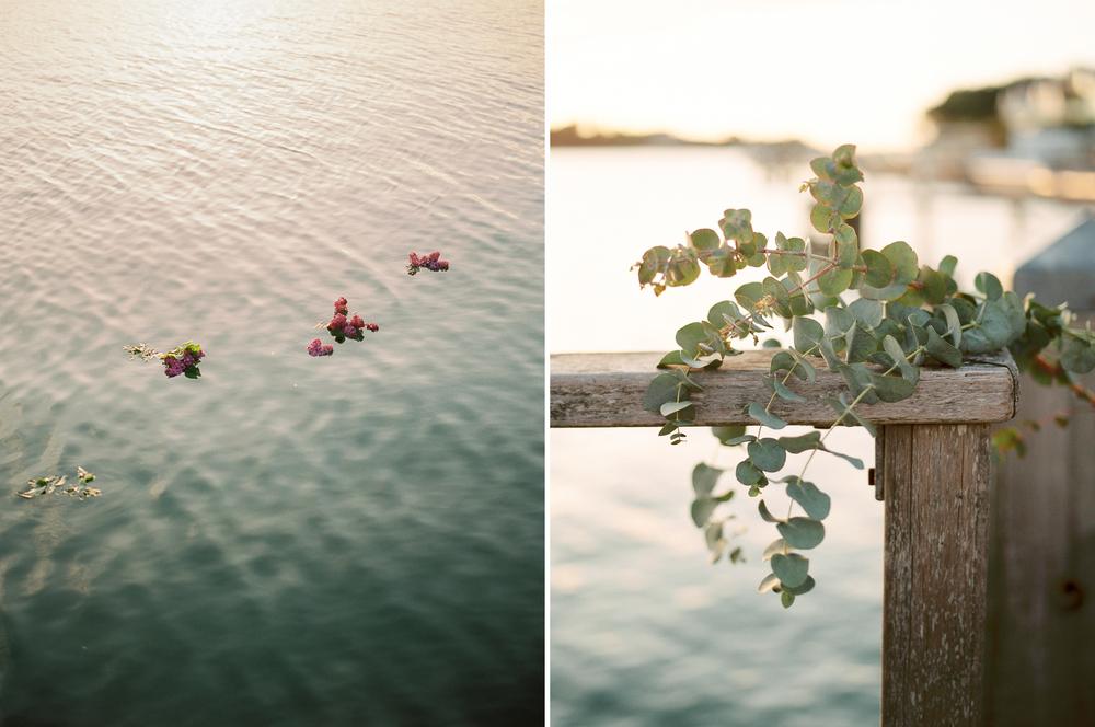 eucalyptus flowers, imogen xiana wedding photography, flowers in the water