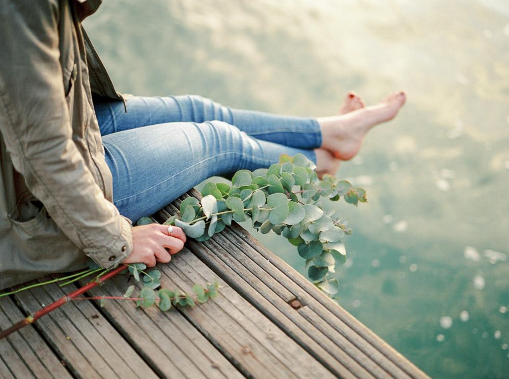 eucalyptus flowers, imogen xiana wedding photography, feet in the water