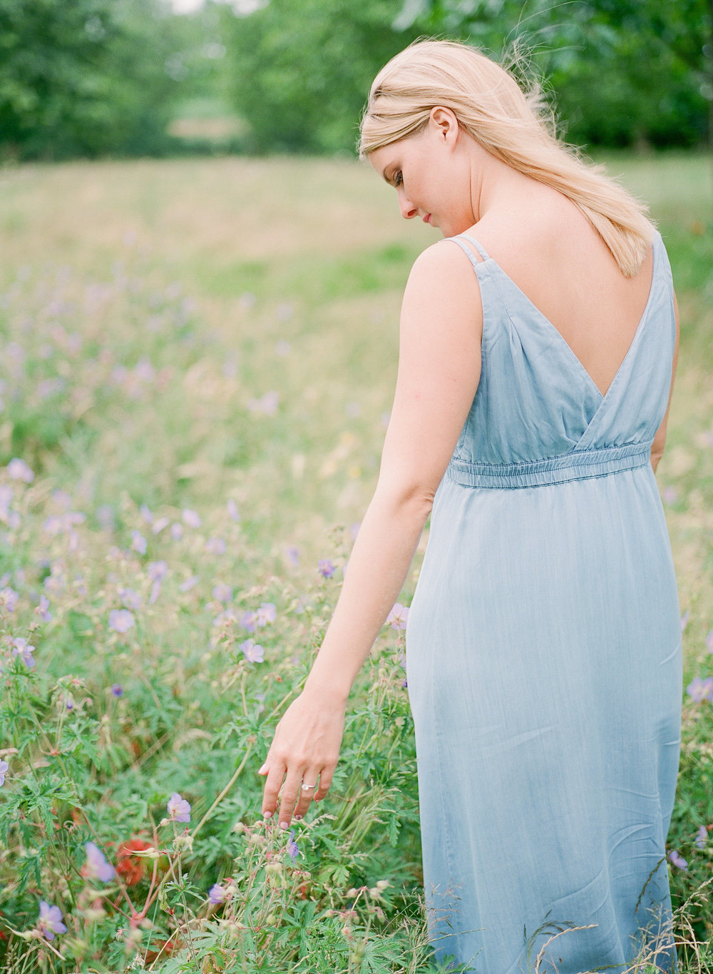 blue linen engagement dress by  imogen xiana