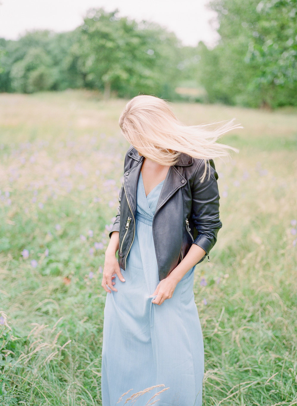 leather jacket and blue dress in london by imogen xiana photography