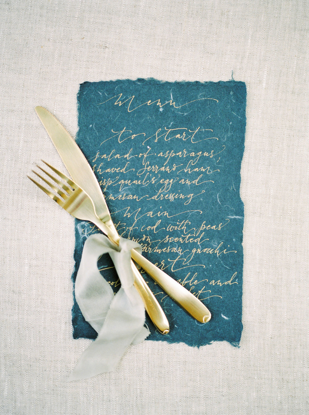 wedding breakfast menu designed by nice plume photographed by imogen xiana
