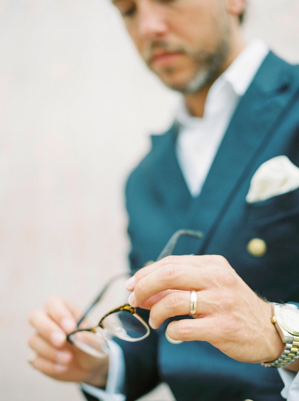 stylish groom with navy blazer by imogen xiana
