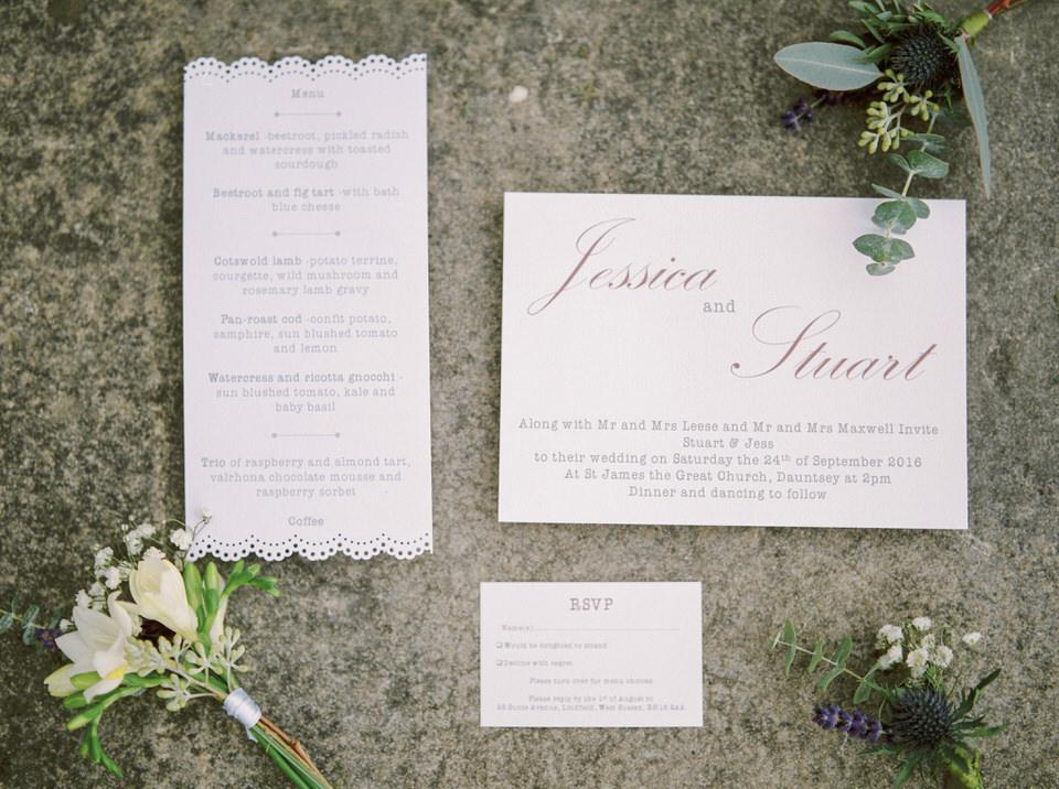 wiltshire wedding stationary by imogen xiana