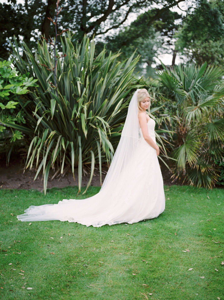 blonde bride with blush dress
