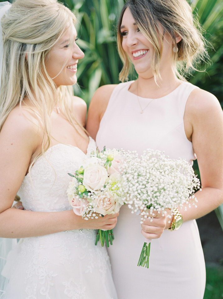 maid of honour wearing blush dress
