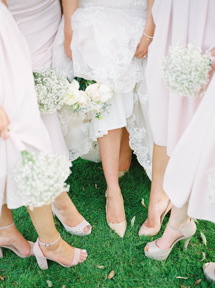 pink and ivory bridesmaid shoes, flowers and dress