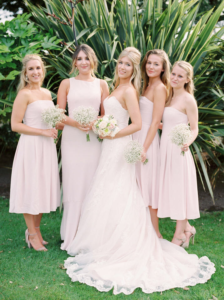 pink and blush bridesmaid dresses