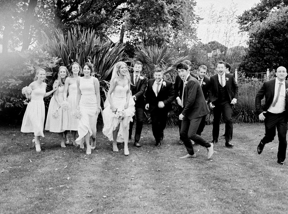 crazy bridal party in dorset