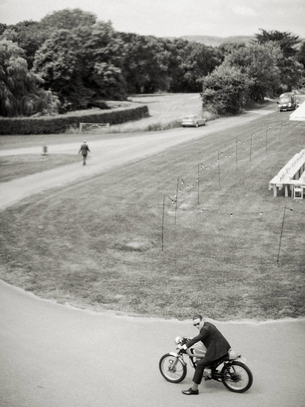 groom on his motorbike at smedmore house