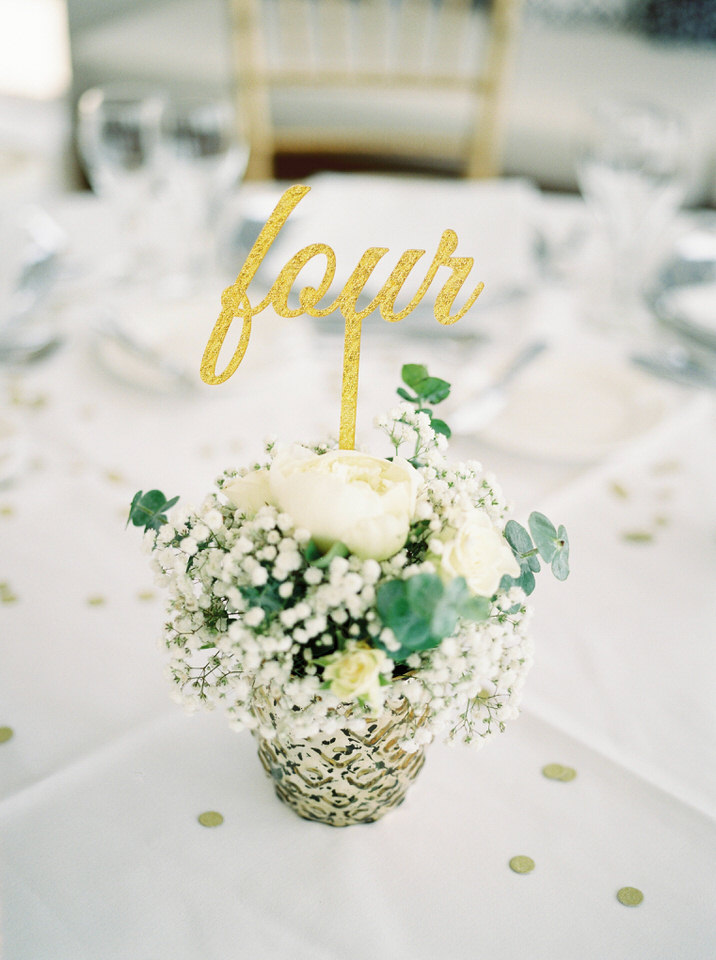 gold and blue wedding reception details