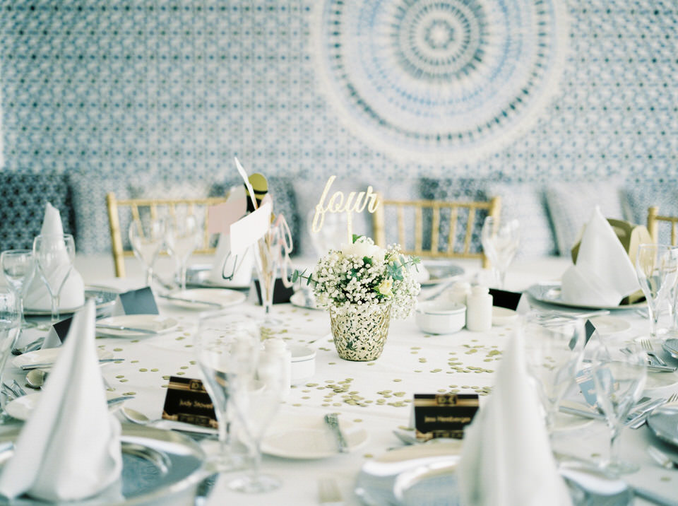 blue and gold greek wedding