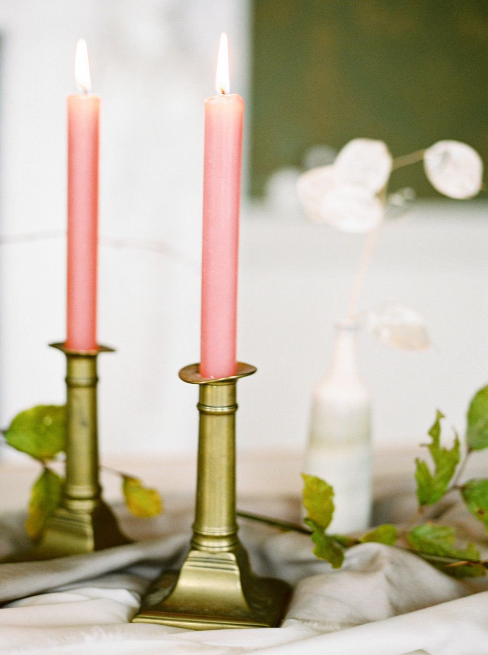 antique candles on wedding table