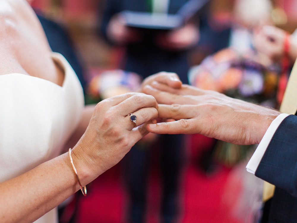 exchanging rings on wedding day