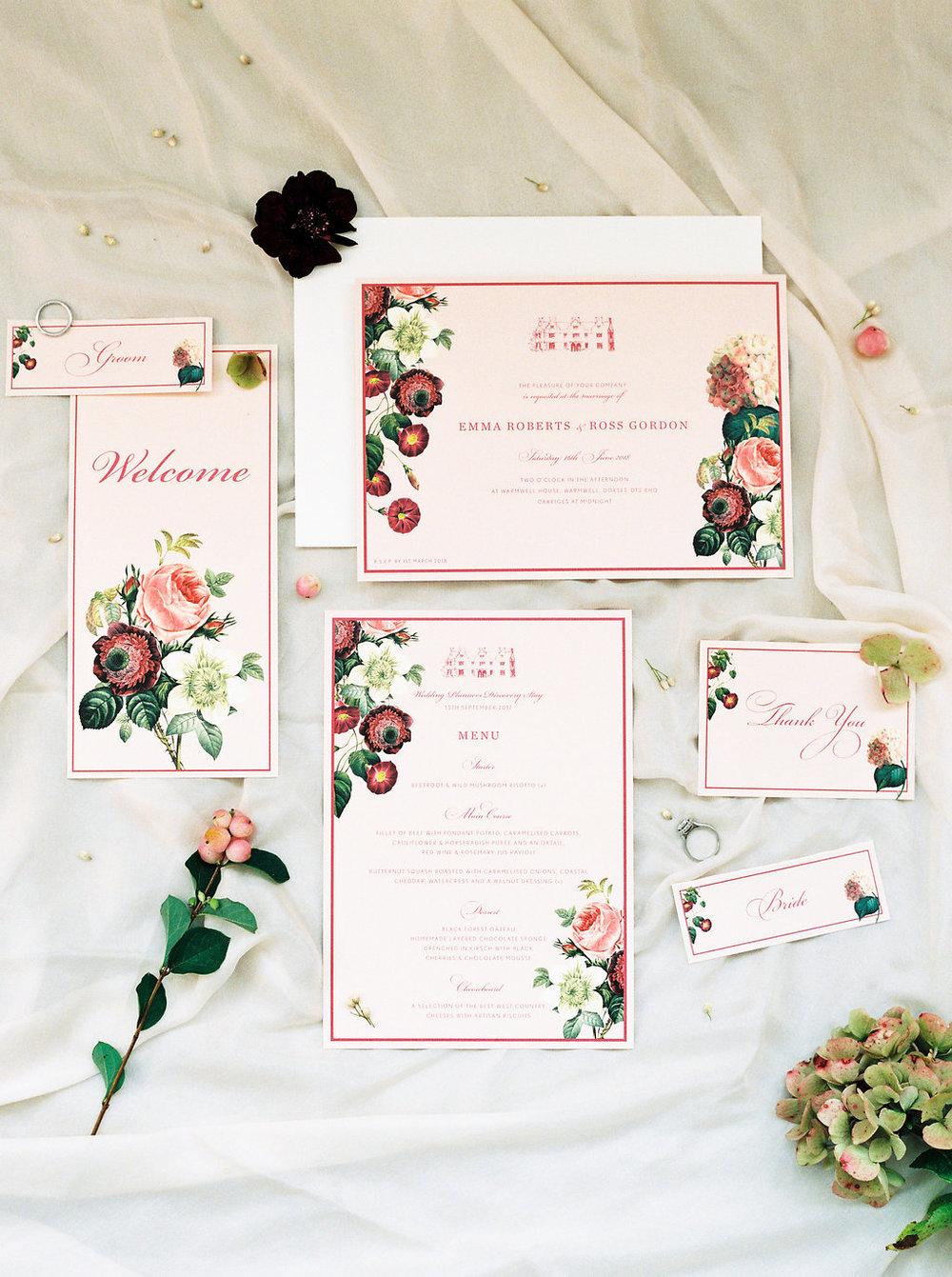 blush wedding stationary